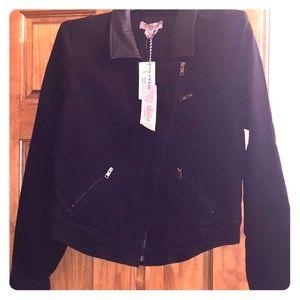 NWT. Black denim & faux leather motorcycle jacket